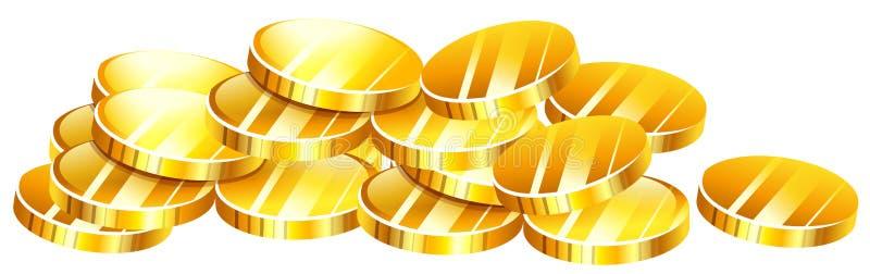 堆金黄硬币 库存例证