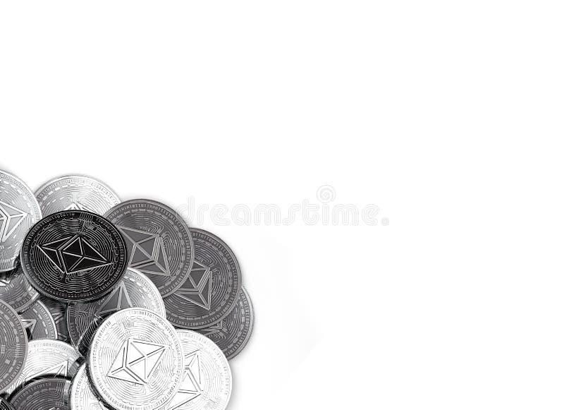 堆银色Ethereum在白色和拷贝空间隔绝的底部左角落铸造您的文本的 皇族释放例证