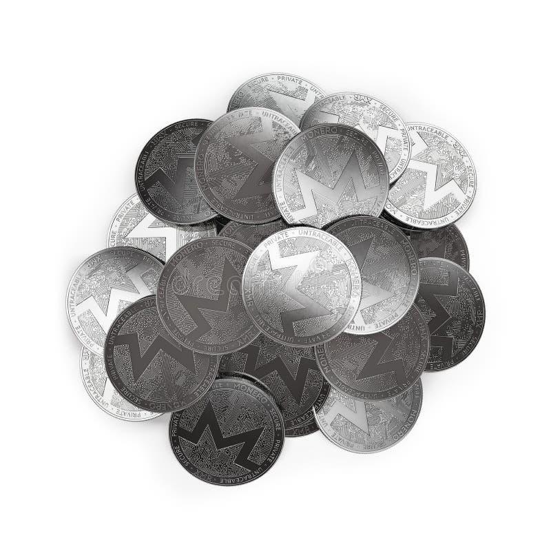 堆银色Monero在白色和拷贝空间隔绝的中部铸造 皇族释放例证