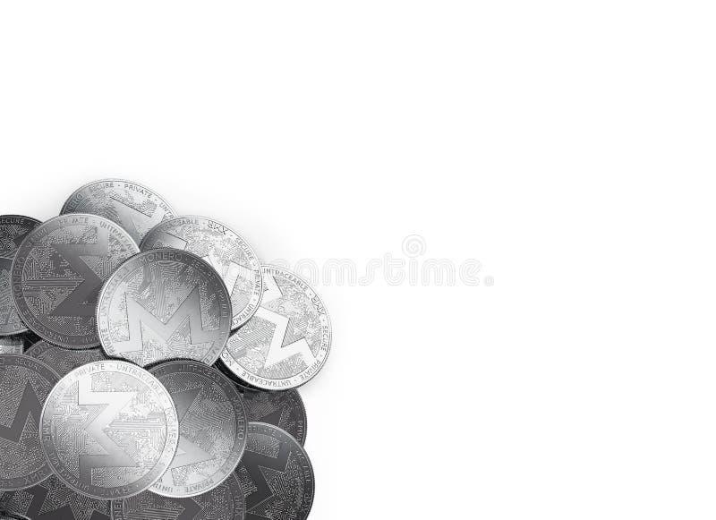 堆银色Monero在白色和拷贝空间隔绝的底部左角落铸造您的文本的 皇族释放例证