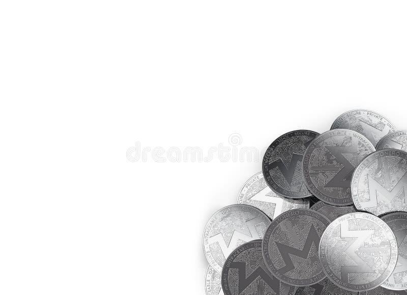 堆银色Monero在白色和拷贝空间隔绝的底部正确的角落铸造您的文本的 皇族释放例证