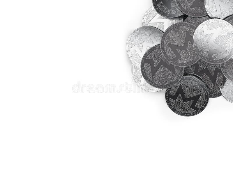 堆银色Monero在白色和拷贝空间隔绝的顶正确的角落铸造您的文本的 库存例证