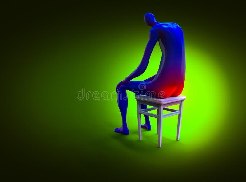 堆死亡 人痛苦地坐椅子 3d例证 向量例证