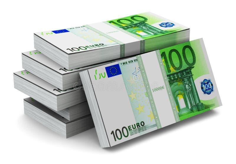 堆100张欧洲钞票 库存例证