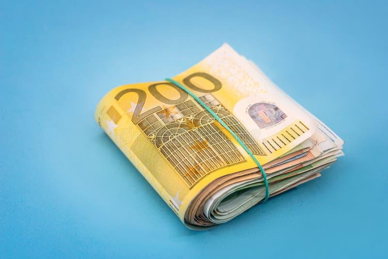 堆200欧元钞票 库存照片