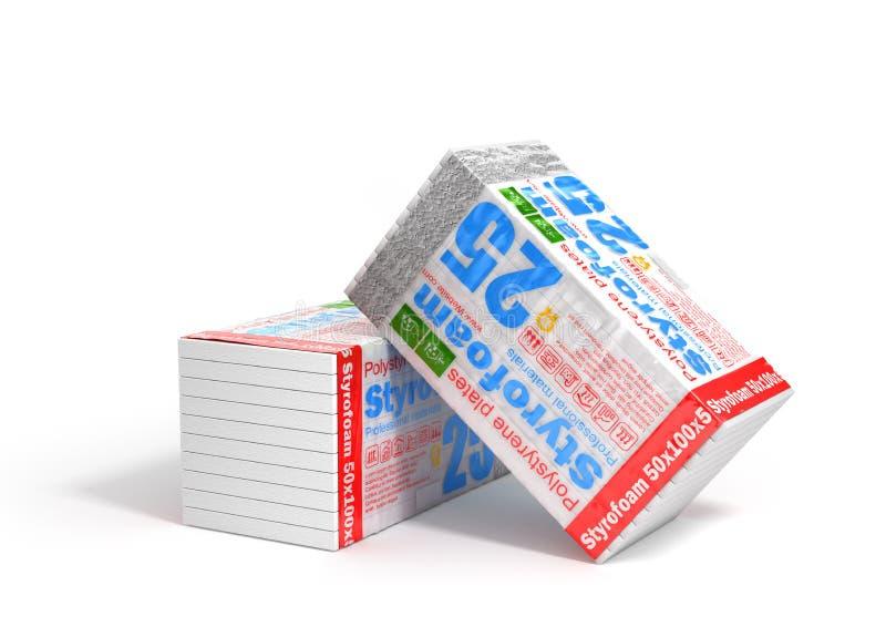 堆绝缘材料的聚苯乙烯泡沫塑料在白色背景 热化 皇族释放例证