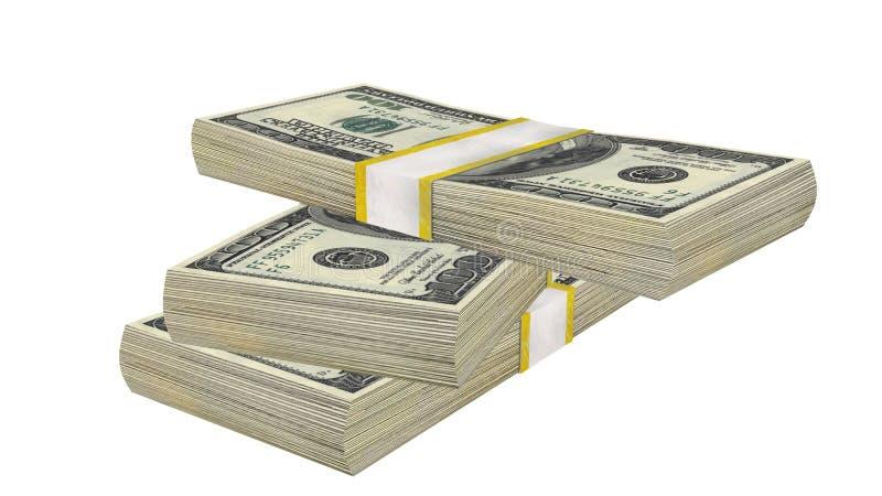 堆100美元钞票票据美国在白色背景的金钱钞票 免版税库存照片
