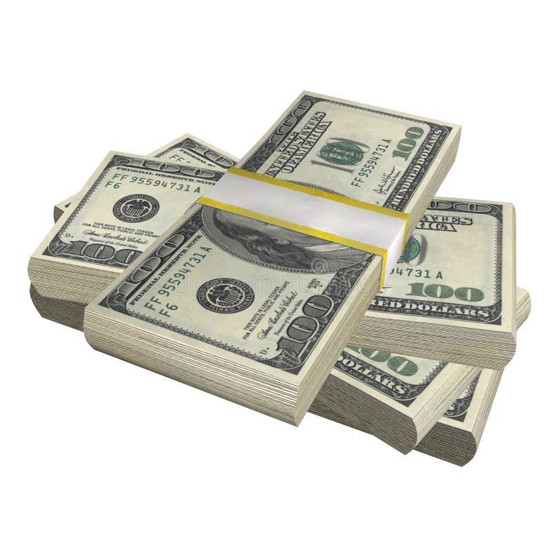堆100美元钞票票据美国在白色背景的金钱钞票 库存例证