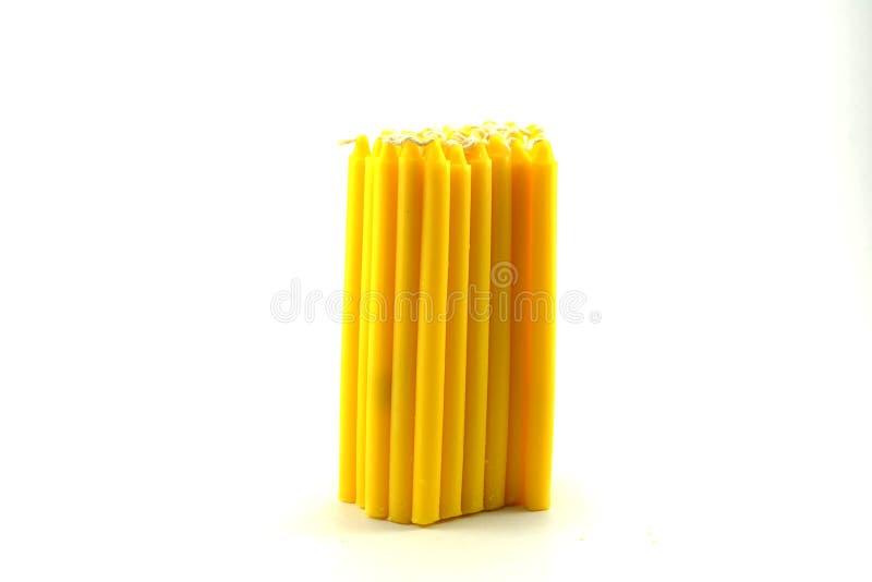 堆黄色candel 免版税库存图片