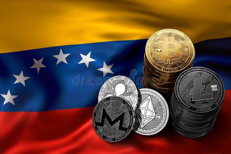 堆Bitcoin和其他隐藏硬币在Venezuelian旗子 向量例证