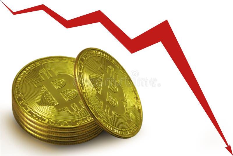 堆bitcoins金币,下来一个红色图的箭头 库存照片