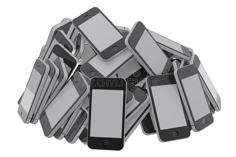 堆smartphones 皇族释放例证