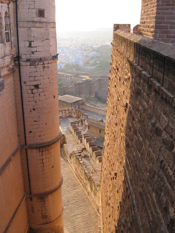 堡垒印度乔德普尔城meherangarh拉贾斯坦墙壁 免版税库存照片