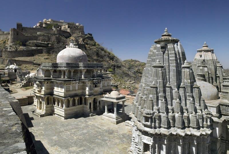堡垒印度kumbhalgarth拉贾斯坦寺庙 免版税库存照片