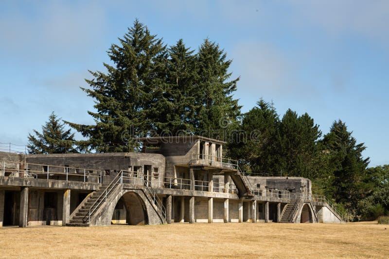 堡垒史蒂文斯罗素电池在俄勒冈海岸的 免版税图库摄影