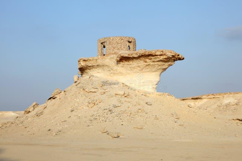 堡垒在卡塔尔的沙漠 库存图片