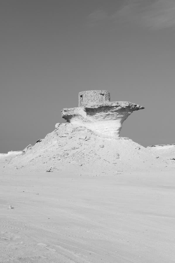 堡垒在卡塔尔,中东的Zekreet沙漠 免版税库存照片