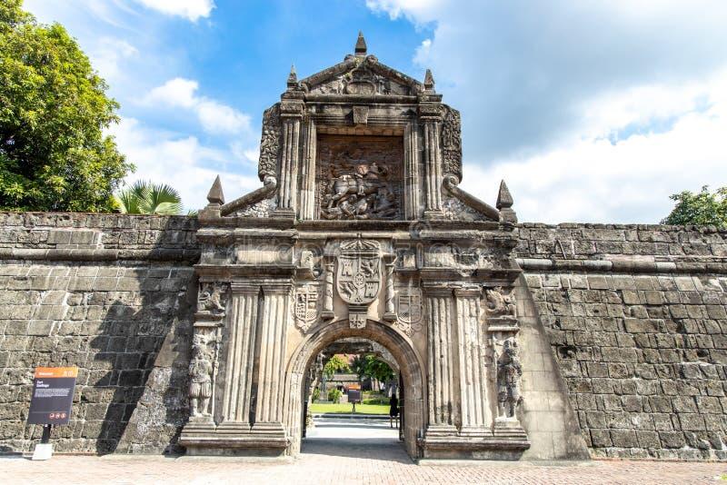 堡垒在王城区,马尼拉,菲律宾,6月9,2019的圣地亚哥门 图库摄影