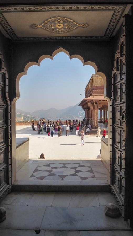 堡垒琥珀是位于阿梅尔的堡垒,在斋浦尔附近的一个城市,国家的拉贾斯坦在印度 库存照片