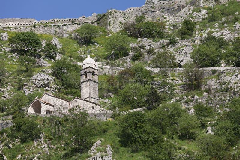 堡垒的废墟在科托尔的 图库摄影