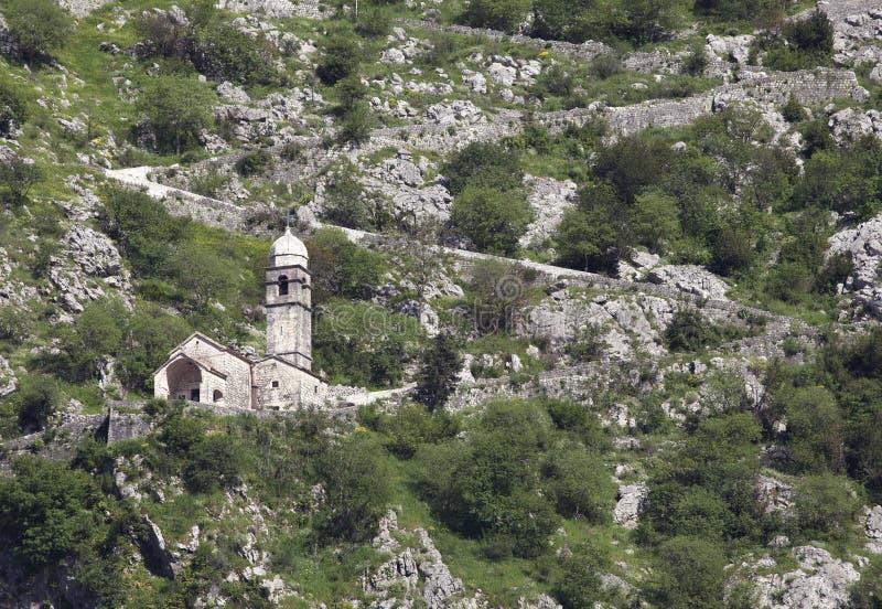 堡垒的废墟在科托尔的 免版税库存图片