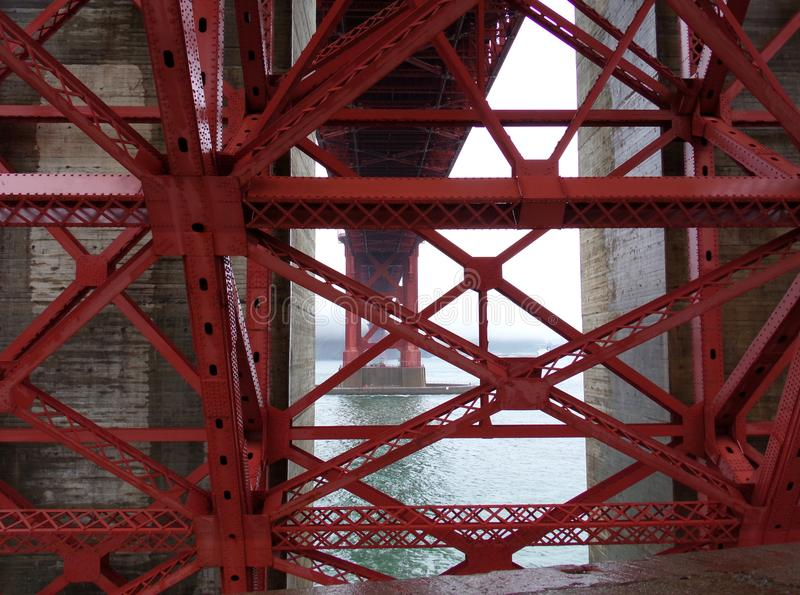 堡垒罗斯,旧金山:金属结构金门大桥使困惑 免版税库存照片
