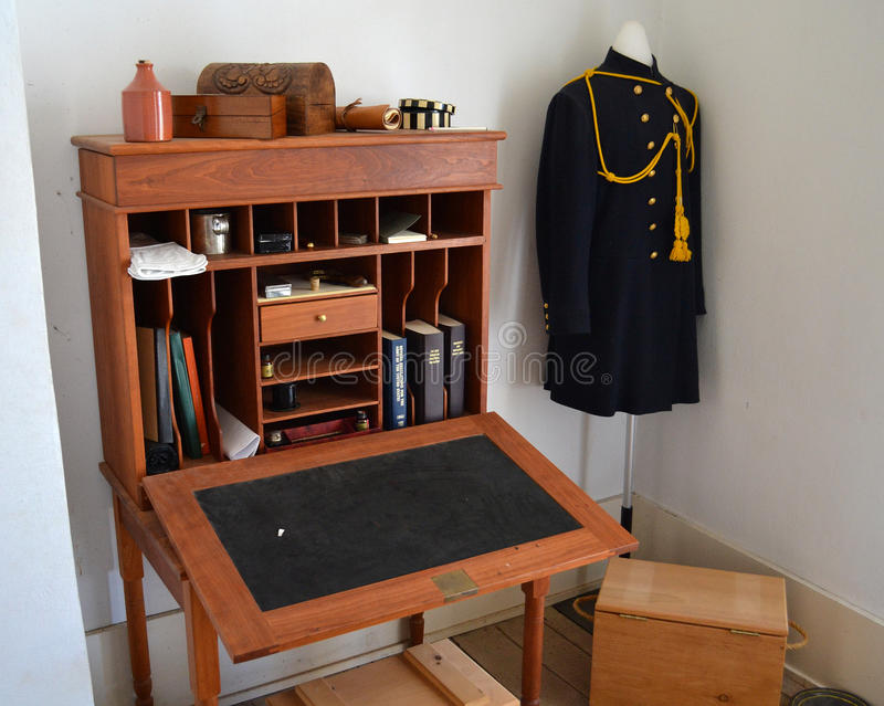 堡垒里查森军医院官员的书桌 库存图片