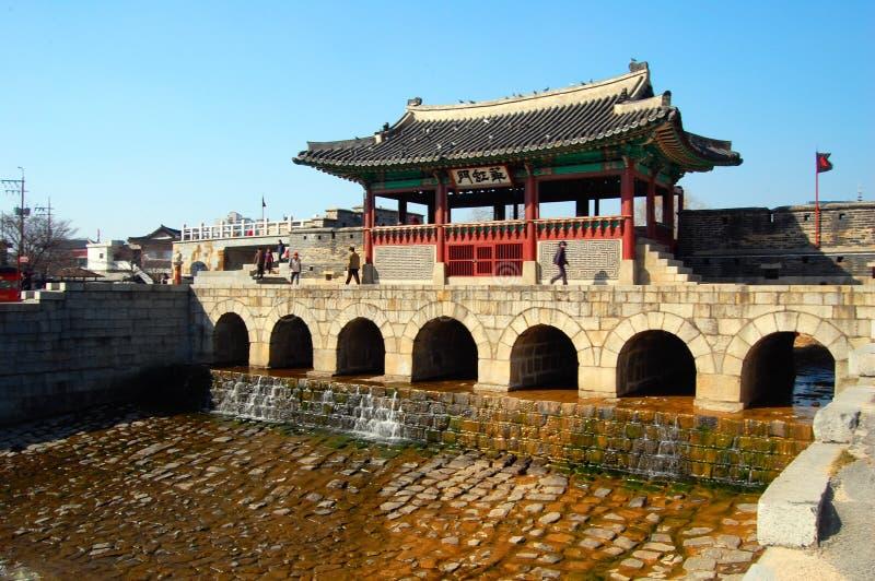 堡垒门hwaseong北suwoncheon 免版税库存照片