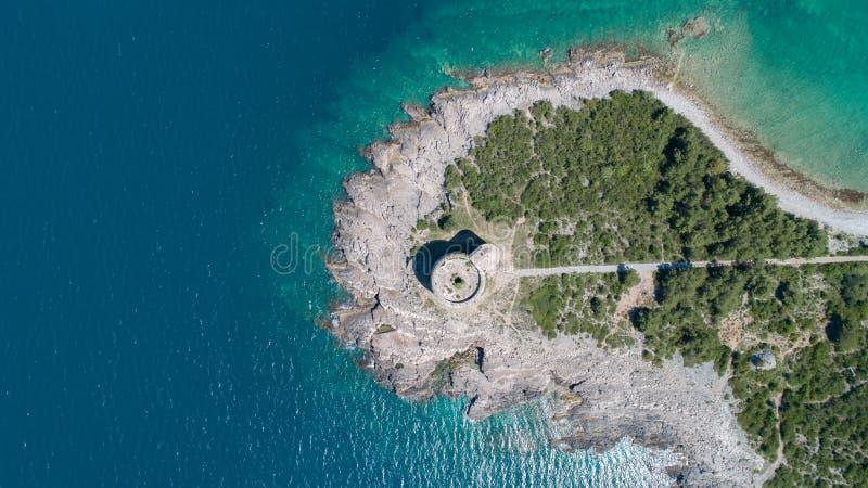 堡垒阿扎镇在黑山,在Mamula附近海岛  免版税库存照片