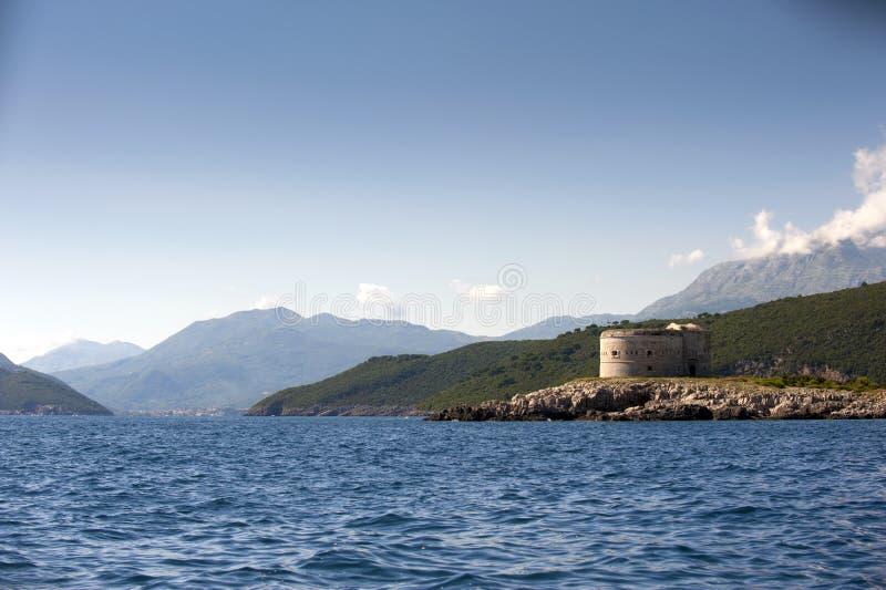 堡垒阿扎镇, Zanjic,博卡队Kotorska海湾,黑山 库存图片