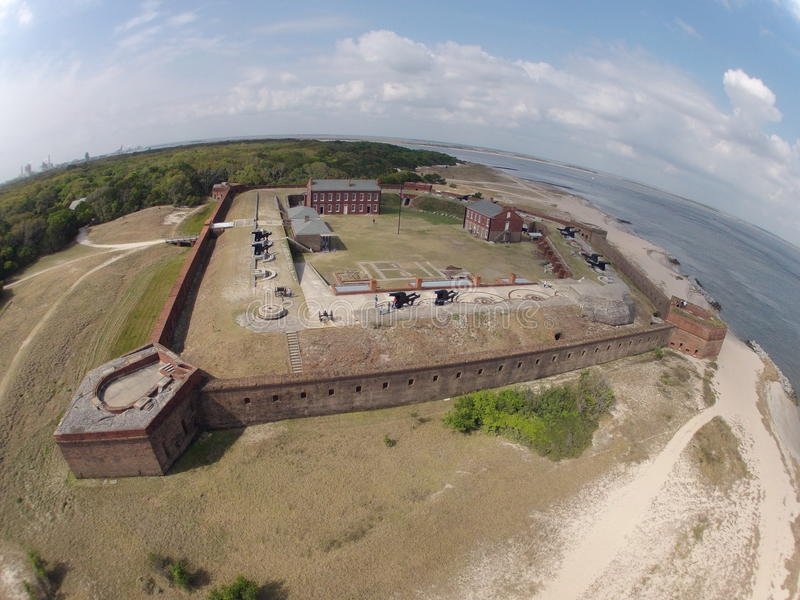 堡垒紧抱鸟瞰图  免版税库存图片
