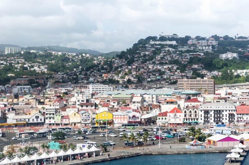 堡垒de法国马提尼克岛港口视图 免版税库存图片