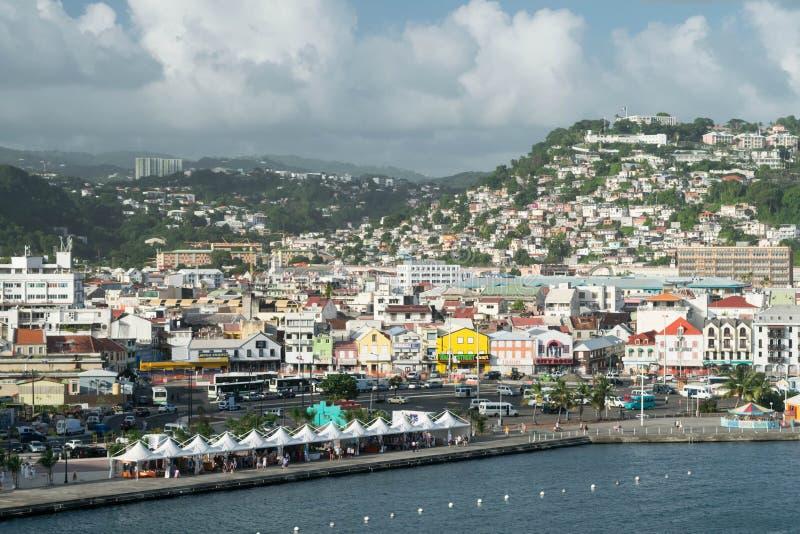堡垒de法国马提尼克岛港口视图 库存照片
