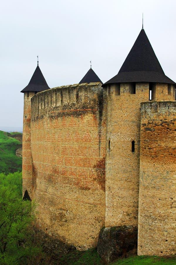 堡垒khotyn西部乌克兰的视图 库存照片