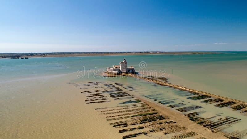 堡垒Louvois航拍在海的夏朗德省 免版税库存照片