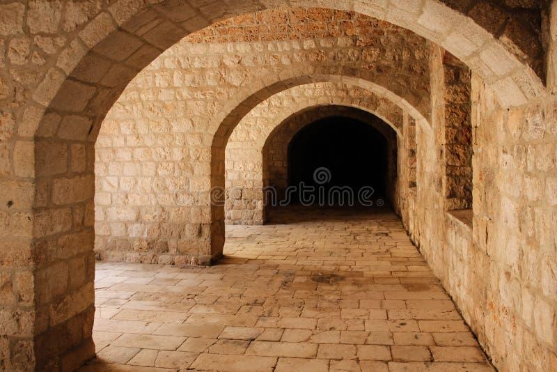堡垒Lovrijenac,走廊 杜布罗夫尼克市 克罗地亚 库存图片