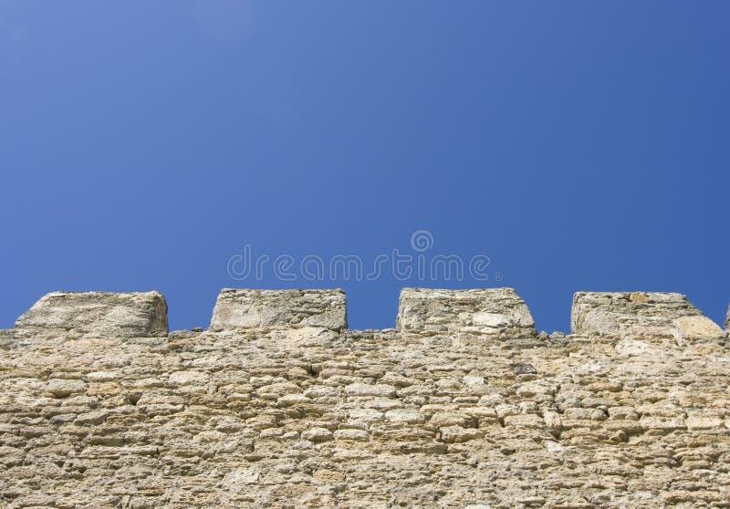 堡垒merlons老墙壁 图库摄影
