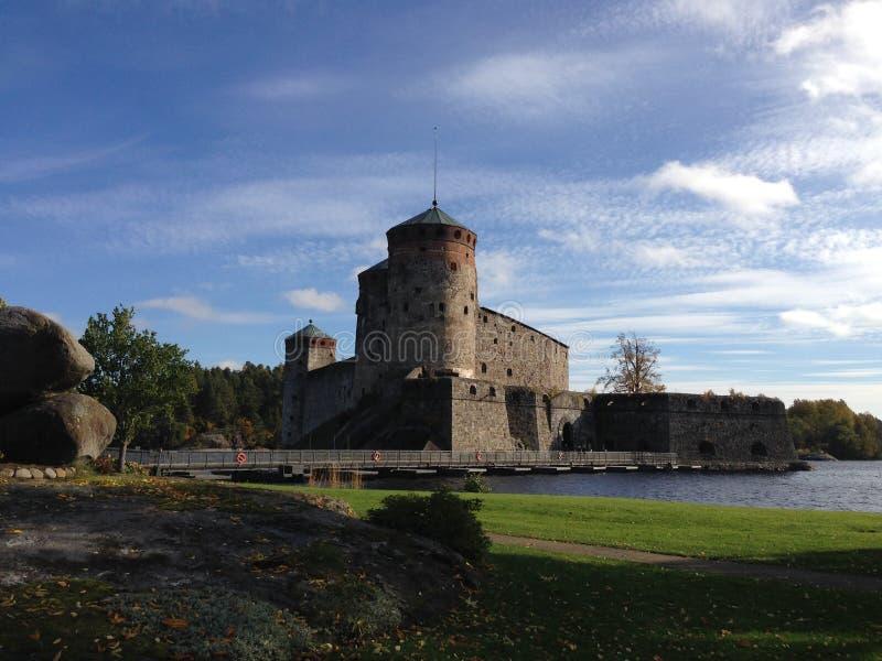 堡垒Olavinlinna,萨翁林纳,芬兰 图库摄影