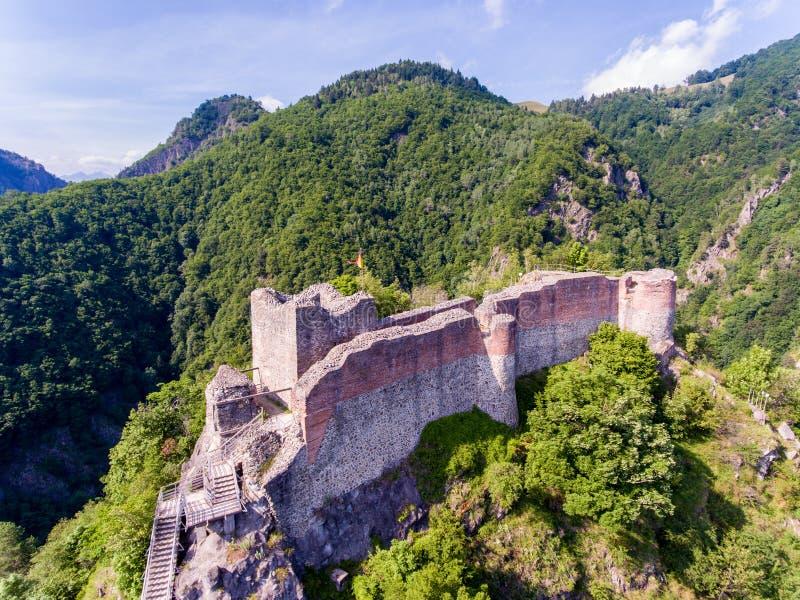 堡垒Poenari在特兰西瓦尼亚,其中一座Vlad的城堡  免版税图库摄影