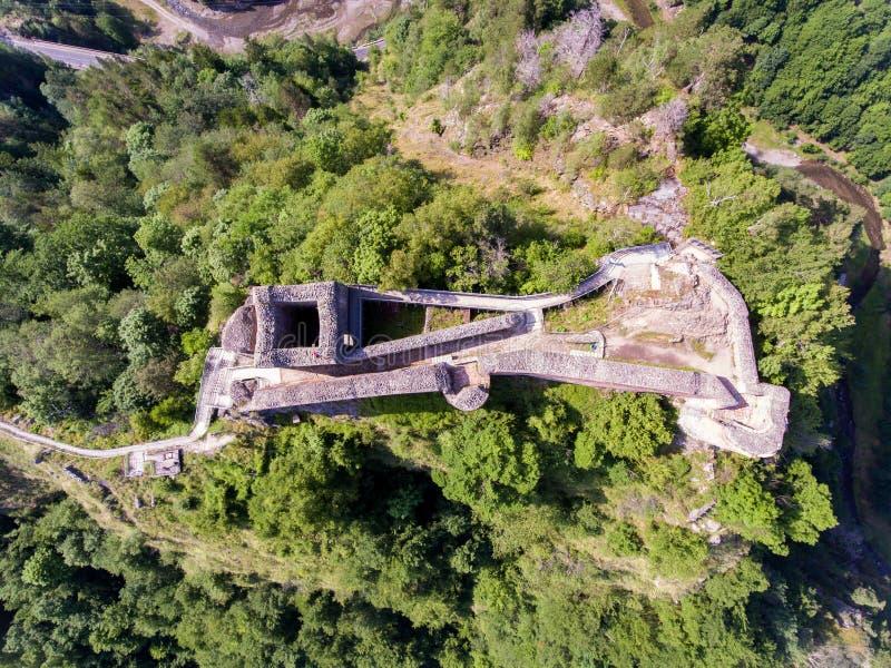 堡垒Poenari 鸟瞰图 库存图片