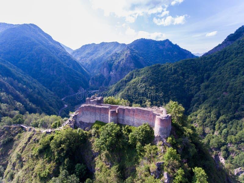 堡垒Poienari, Arefu, Arges县罗马尼亚 库存图片