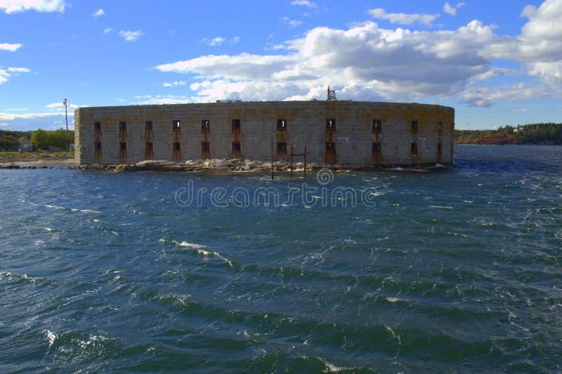 堡垒Popham,从巴港的看法 免版税库存照片