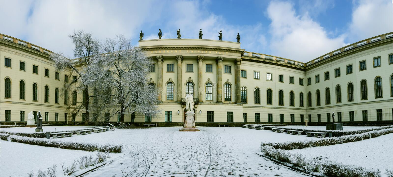 洪堡大学冬天全景在柏林图片