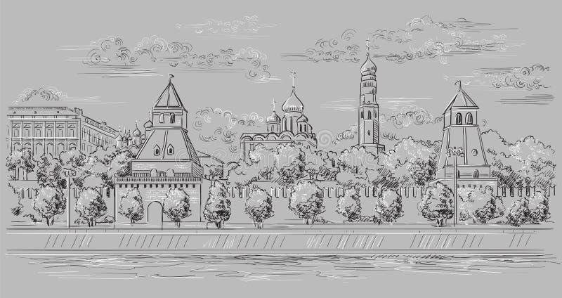 堤防克里姆林宫塔和莫斯科河红场,莫斯科,俄罗斯都市风景隔绝了传染媒介手图画例证 皇族释放例证