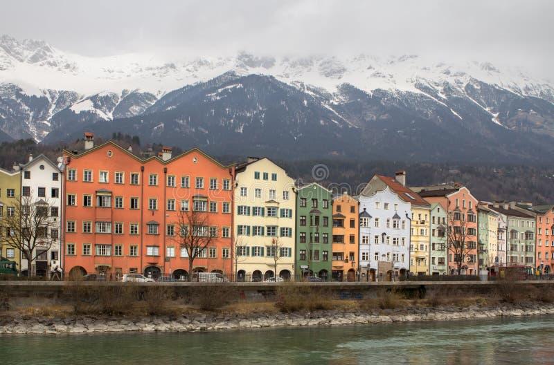 堤防在因斯布鲁克,奥地利 库存图片