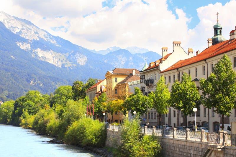 堤防在因斯布鲁克,奥地利 免版税库存照片