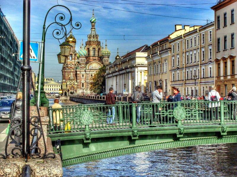 堤防在圣彼德堡 免版税图库摄影