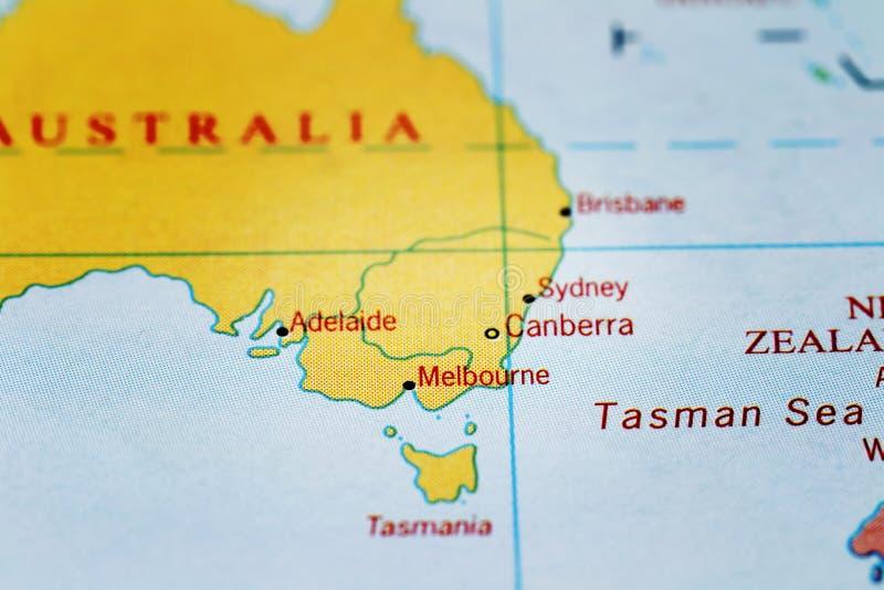堪培拉、悉尼、墨尔本、阿德莱德和澳大利亚地图的 免版税库存图片