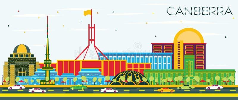 堪培拉澳大利亚与颜色大厦和蓝色Sk的市地平线 库存例证