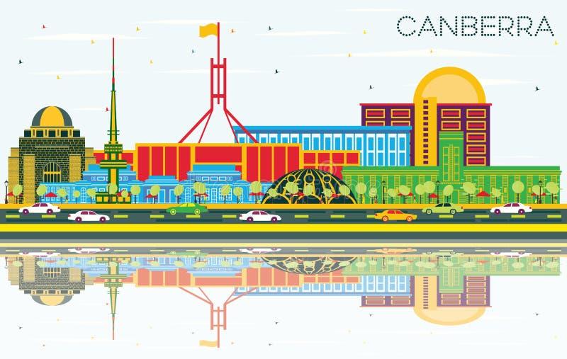 堪培拉澳大利亚与颜色大厦的市地平线,天空蔚蓝a 向量例证